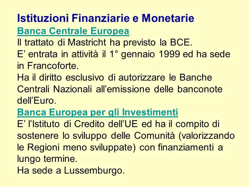 Istituzioni Finanziarie e Monetarie Banca Centrale Europea Il trattato di Mastricht ha previsto la BCE.