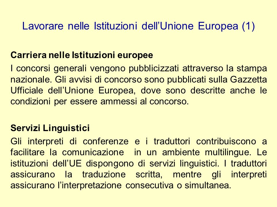 Lavorare nelle Istituzioni dell'Unione Europea (1)