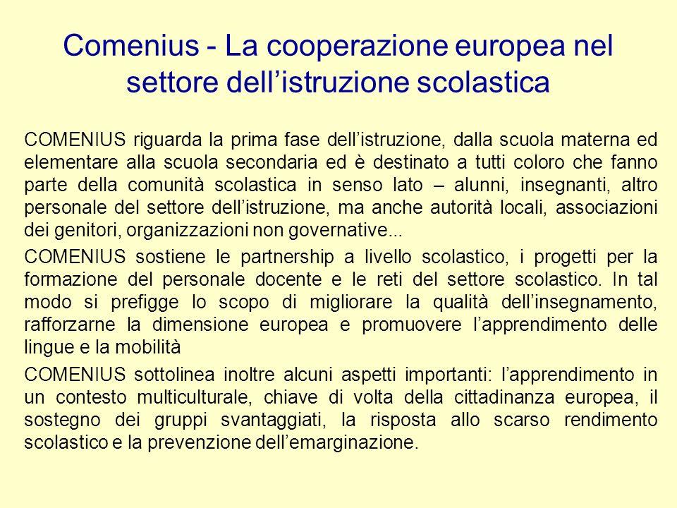 Comenius - La cooperazione europea nel settore dell'istruzione scolastica