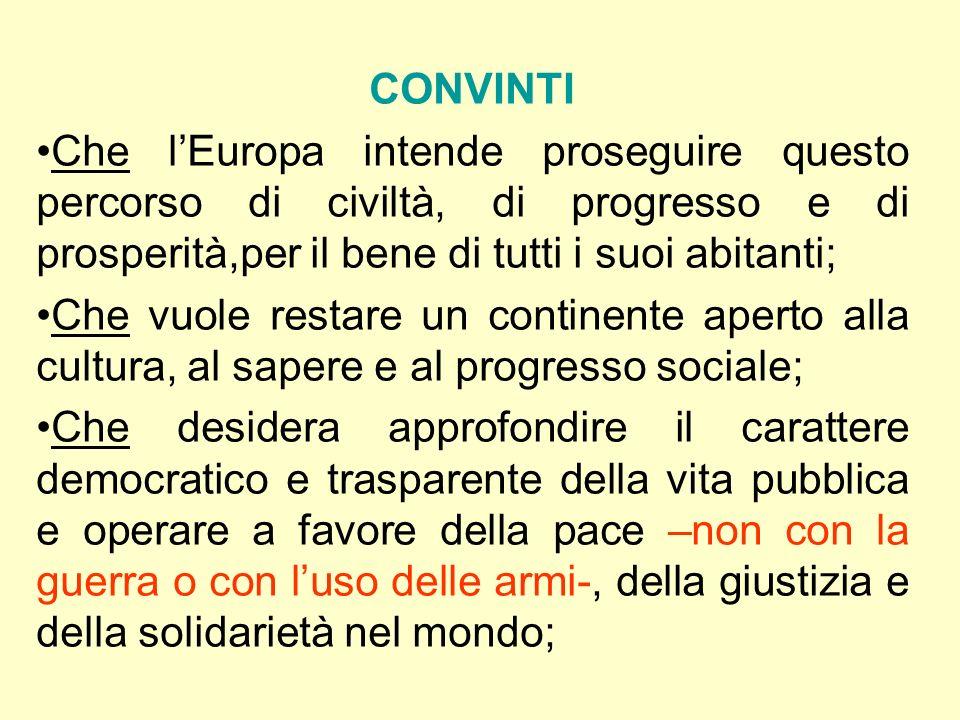 CONVINTIChe l'Europa intende proseguire questo percorso di civiltà, di progresso e di prosperità,per il bene di tutti i suoi abitanti;