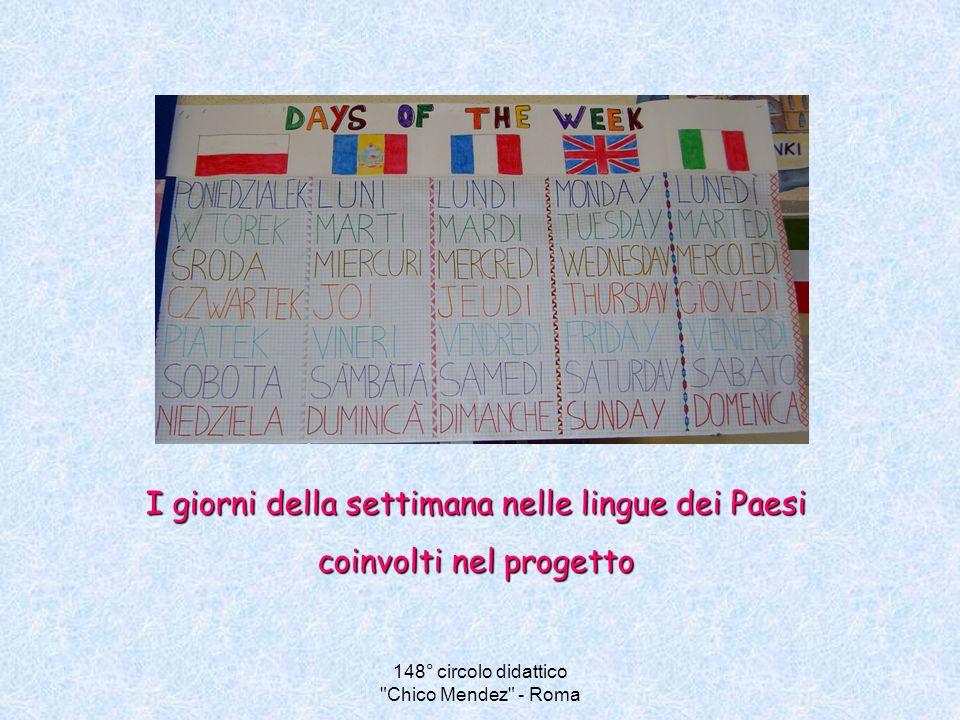 I giorni della settimana nelle lingue dei Paesi coinvolti nel progetto