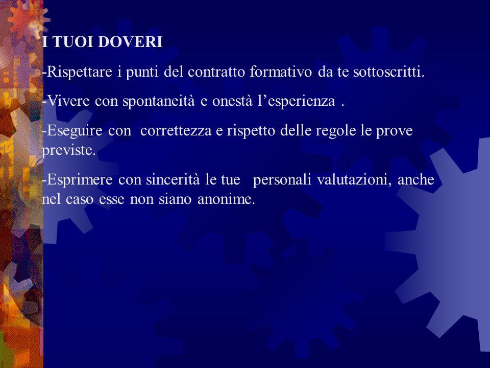 I TUOI DOVERI -Rispettare i punti del contratto formativo da te sottoscritti. -Vivere con spontaneità e onestà l'esperienza .