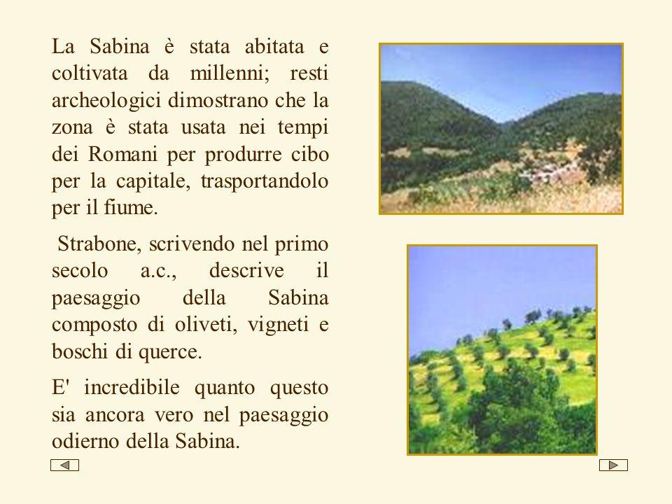 La Sabina è stata abitata e coltivata da millenni; resti archeologici dimostrano che la zona è stata usata nei tempi dei Romani per produrre cibo per la capitale, trasportandolo per il fiume.