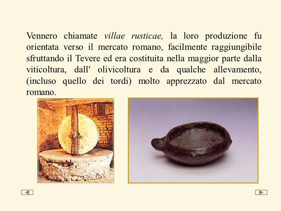 Vennero chiamate villae rusticae, la loro produzione fu orientata verso il mercato romano, facilmente raggiungibile sfruttando il Tevere ed era costituita nella maggior parte dalla viticoltura, dall olivicoltura e da qualche allevamento, (incluso quello dei tordi) molto apprezzato dal mercato romano.