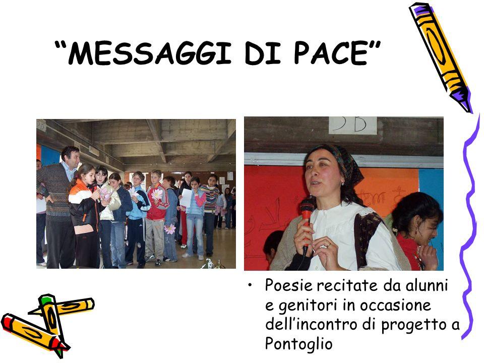 MESSAGGI DI PACE Poesie recitate da alunni e genitori in occasione dell'incontro di progetto a Pontoglio.
