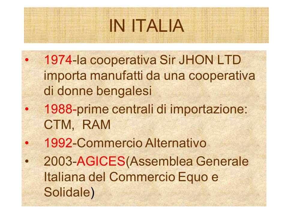 IN ITALIA 1974-la cooperativa Sir JHON LTD importa manufatti da una cooperativa di donne bengalesi.