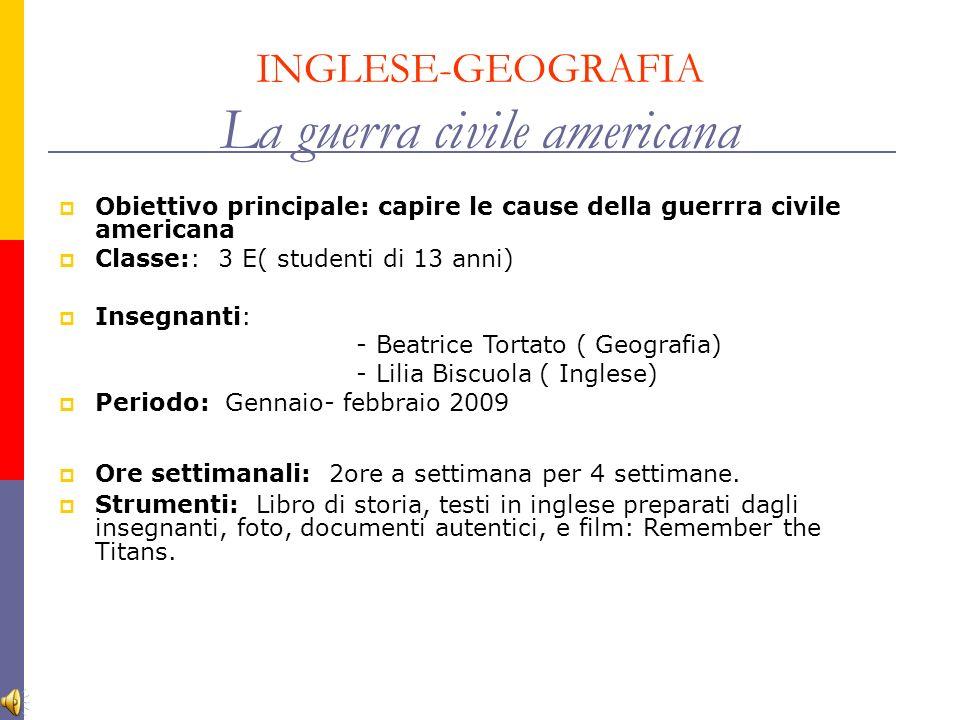 INGLESE-GEOGRAFIA La guerra civile americana