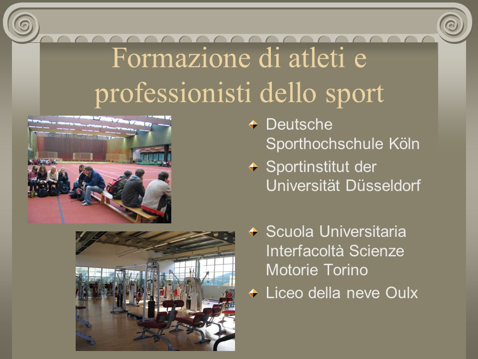 Formazione di atleti e professionisti dello sport