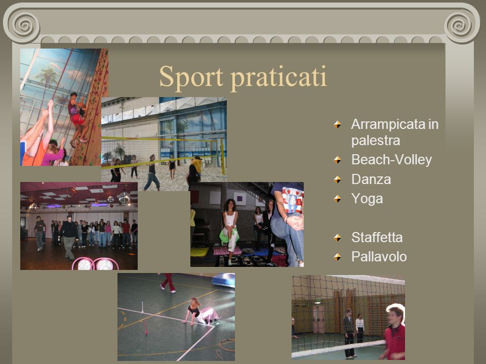 Sport praticati Arrampicata in palestra Beach-Volley Danza Yoga