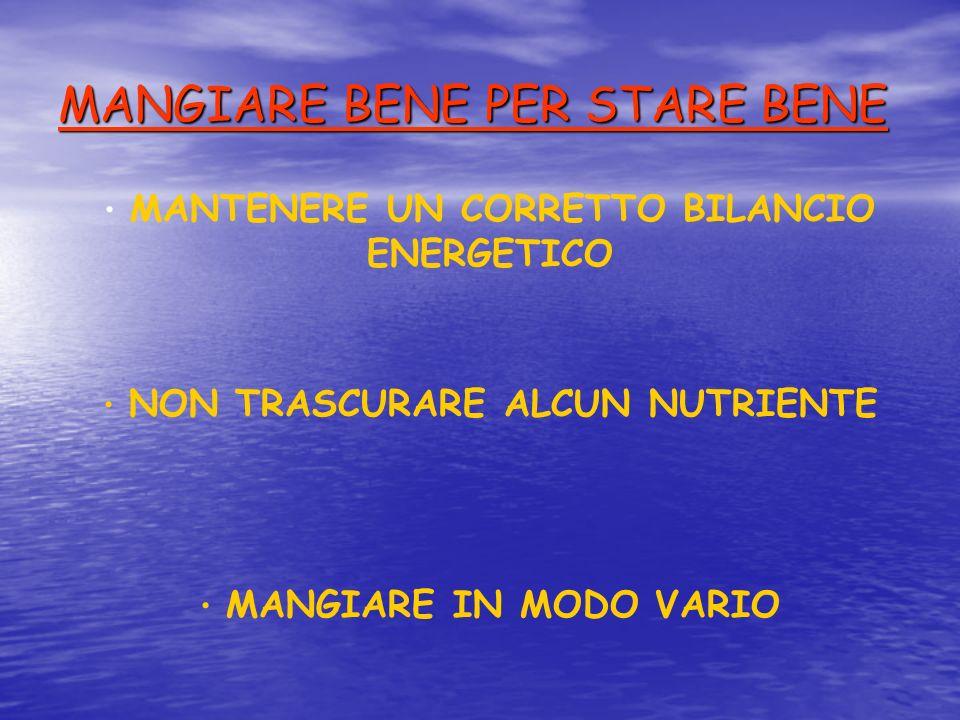 MANGIARE BENE PER STARE BENE