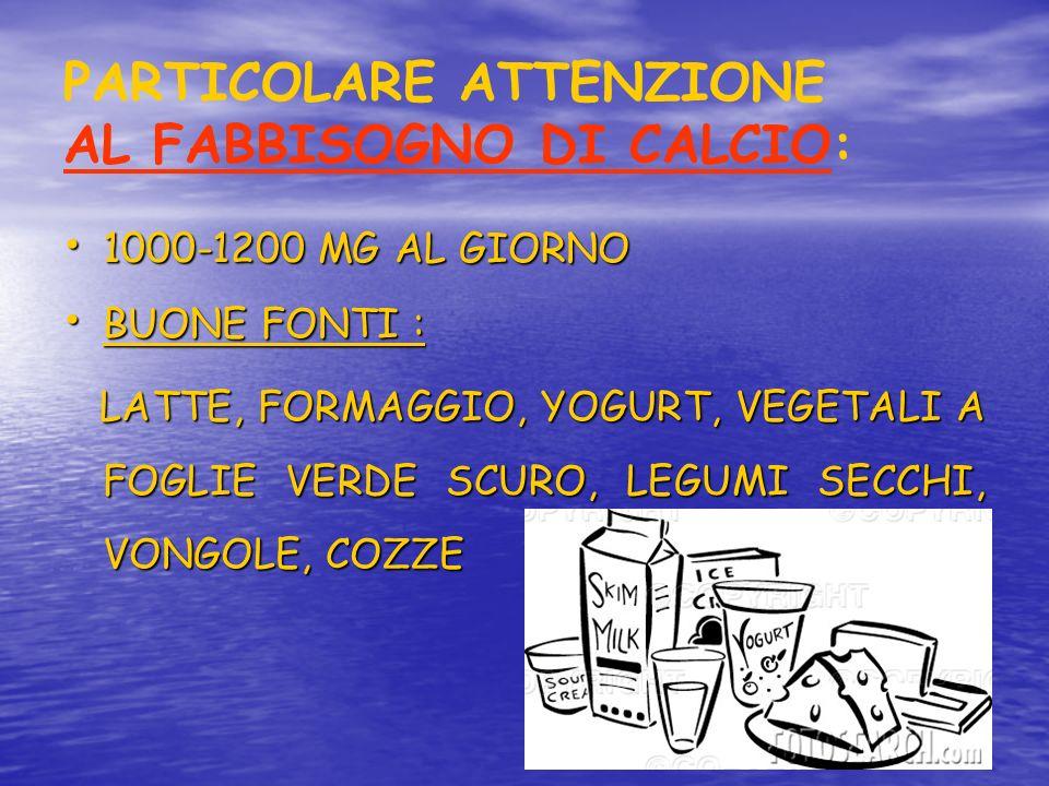 PARTICOLARE ATTENZIONE AL FABBISOGNO DI CALCIO: