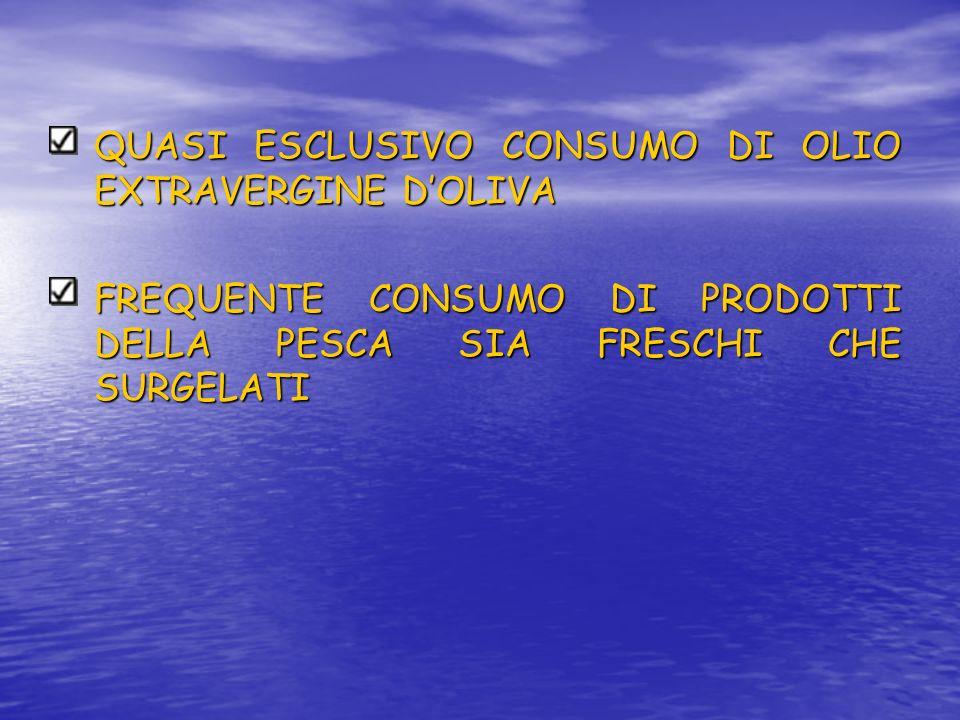 QUASI ESCLUSIVO CONSUMO DI OLIO EXTRAVERGINE D'OLIVA