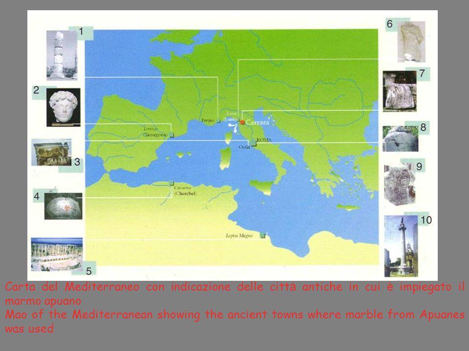 Carta del Mediterraneo con indicazione delle città antiche in cui è impiegato il marmo apuano