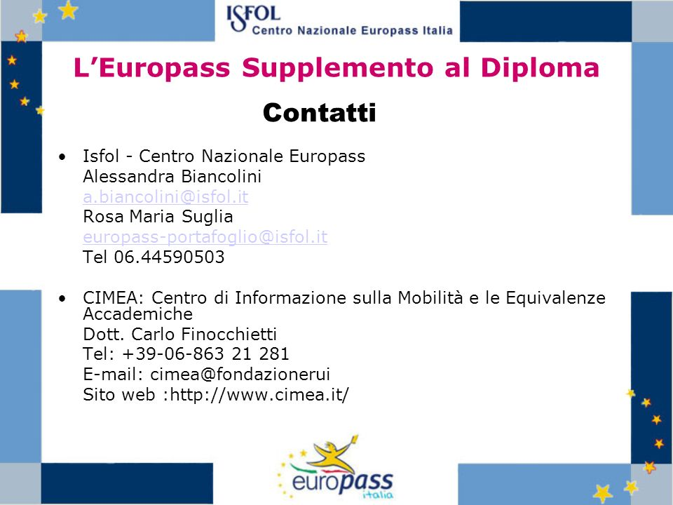 L'Europass Supplemento al Diploma