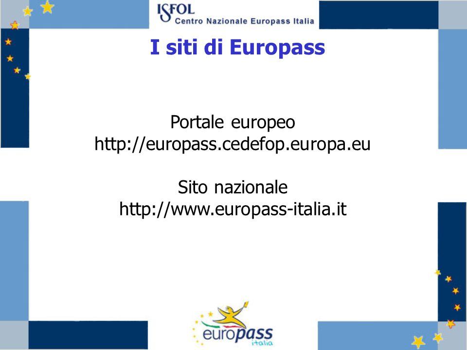 I siti di Europass Portale europeo http://europass.cedefop.europa.eu