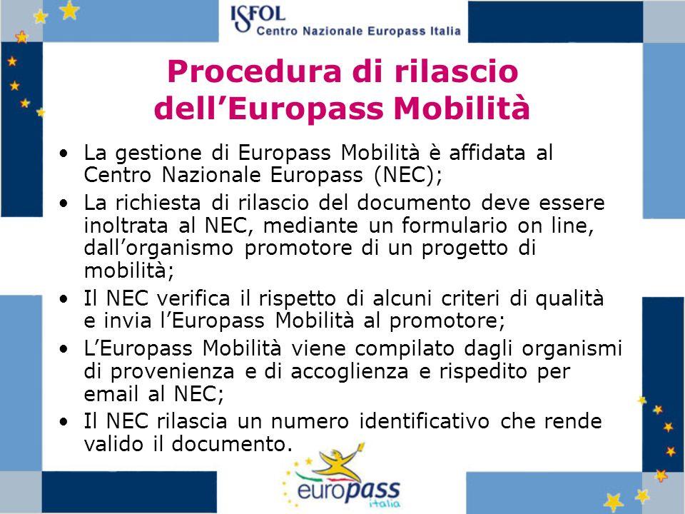 Procedura di rilascio dell'Europass Mobilità