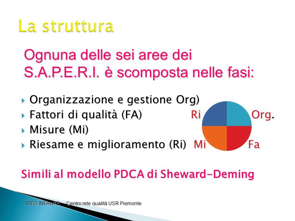 La struttura Ognuna delle sei aree dei S.A.P.E.R.I. è scomposta nelle fasi: Organizzazione e gestione Org)