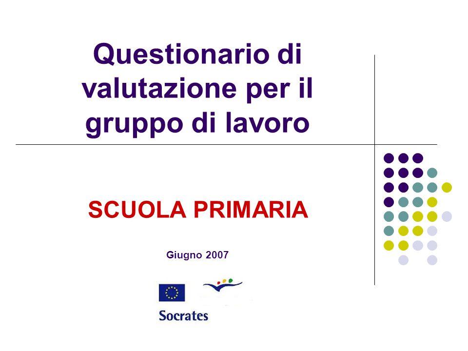 Questionario di valutazione per il gruppo di lavoro SCUOLA PRIMARIA Giugno 2007