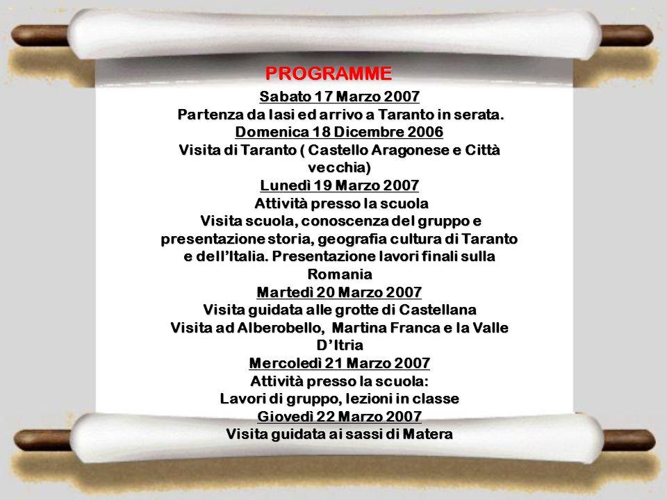 PROGRAMME Sabato 17 Marzo 2007