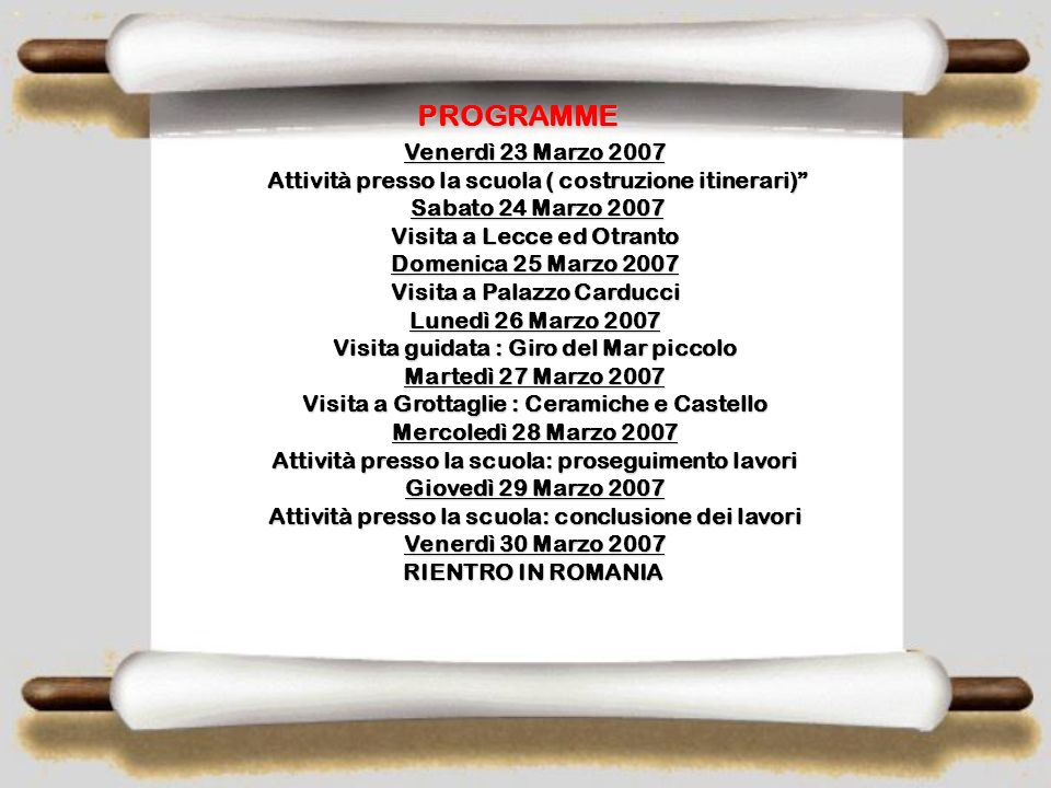PROGRAMME Venerdì 23 Marzo 2007