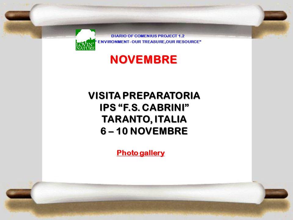 NOVEMBRE VISITA PREPARATORIA IPS F.S. CABRINI TARANTO, ITALIA