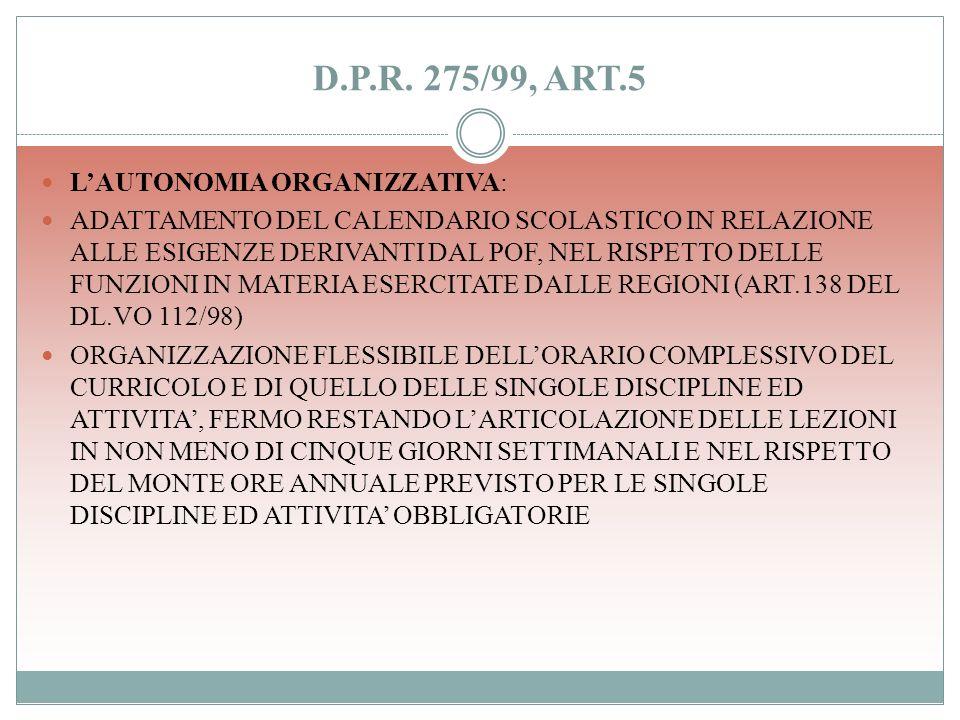 D.P.R. 275/99, ART.5 L'AUTONOMIA ORGANIZZATIVA:
