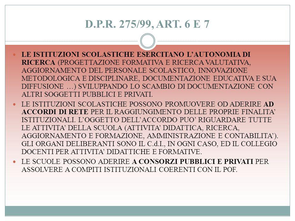 D.P.R. 275/99, ART. 6 E 7