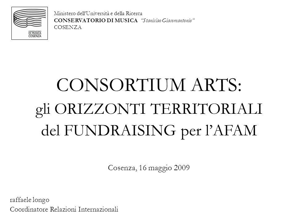 CONSORTIUM ARTS: gli ORIZZONTI TERRITORIALI del FUNDRAISING per l'AFAM
