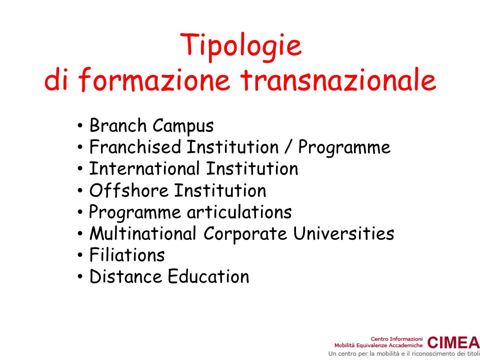 Tipologie di formazione transnazionale