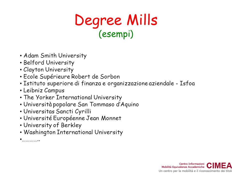 Degree Mills (esempi) Adam Smith University Belford University