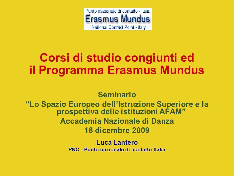 Corsi di studio congiunti ed il Programma Erasmus Mundus
