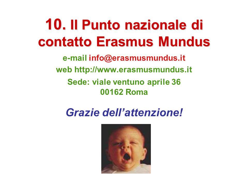 10. Il Punto nazionale di contatto Erasmus Mundus