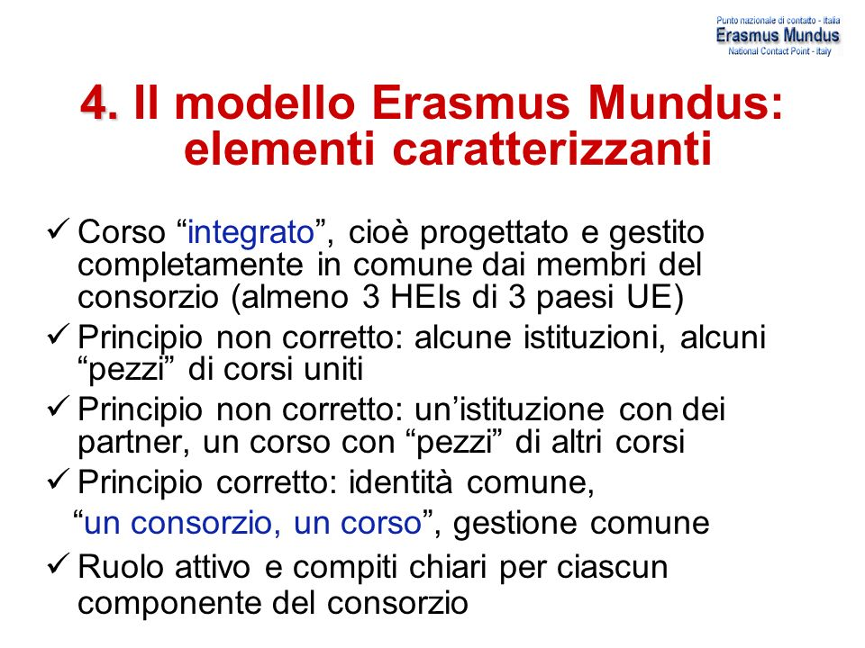 4. Il modello Erasmus Mundus: elementi caratterizzanti