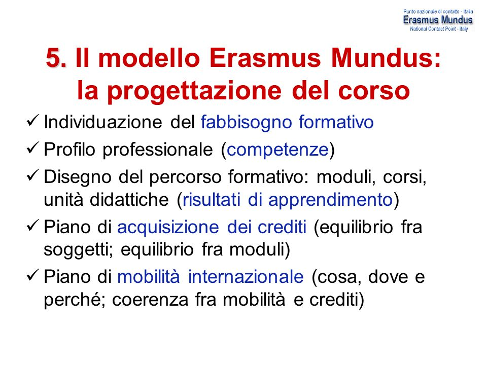 5. Il modello Erasmus Mundus: la progettazione del corso