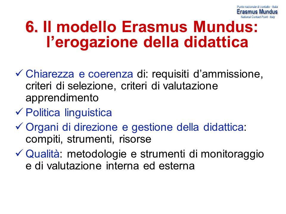 6. Il modello Erasmus Mundus: l'erogazione della didattica