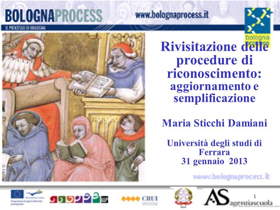 Rivisitazione delle procedure di riconoscimento: aggiornamento e semplificazione Maria Sticchi Damiani Università degli studi di Ferrara 31 gennaio 2013