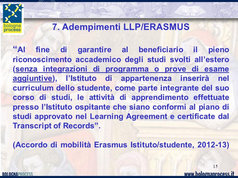 7. Adempimenti LLP/ERASMUS
