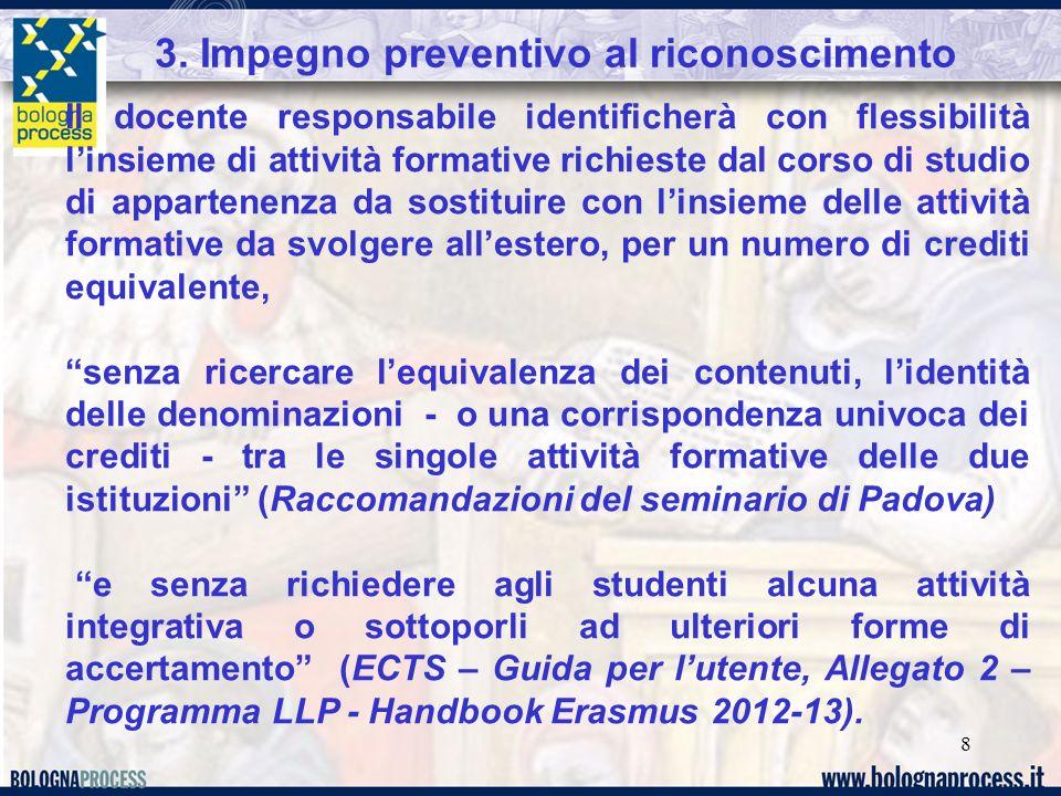 3. Impegno preventivo al riconoscimento