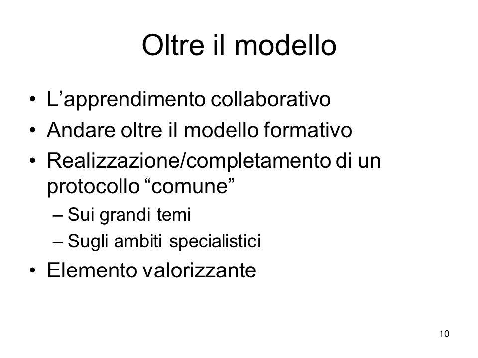 Oltre il modello L'apprendimento collaborativo