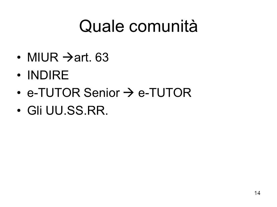 Quale comunità MIUR art. 63 INDIRE e-TUTOR Senior  e-TUTOR