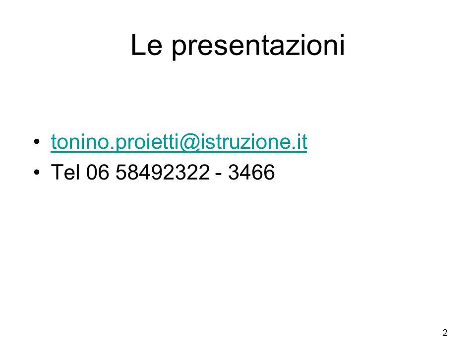 Le presentazioni tonino.proietti@istruzione.it Tel 06 58492322 - 3466