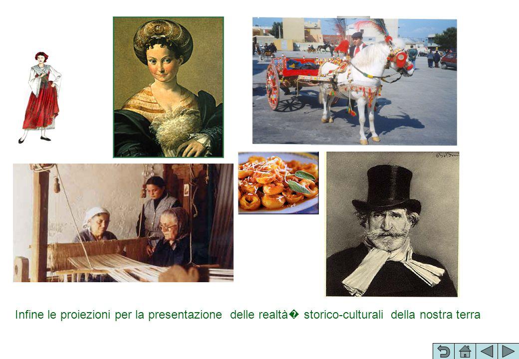 Infine le proiezioni per la presentazione delle realtà� storico-culturali della nostra terra