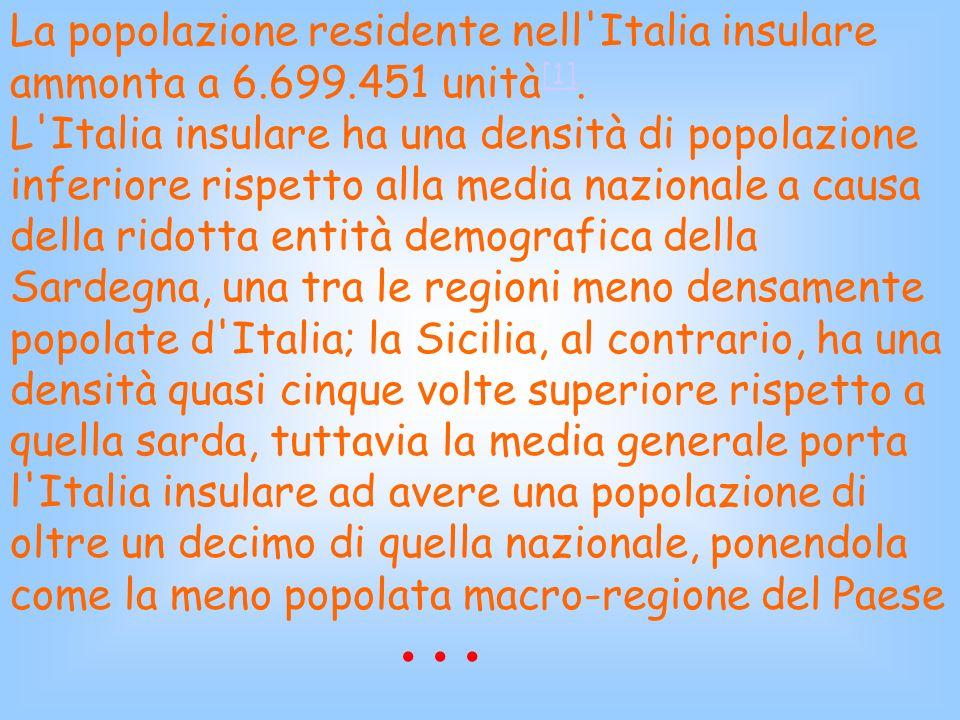La popolazione residente nell Italia insulare ammonta a 6. 699