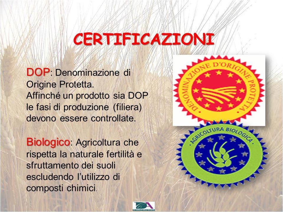 CERTIFICAZIONI DOP: Denominazione di Origine Protetta.