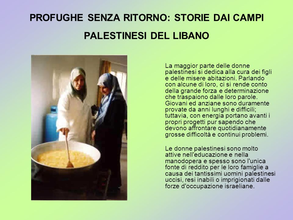 PROFUGHE SENZA RITORNO: STORIE DAI CAMPI PALESTINESI DEL LIBANO