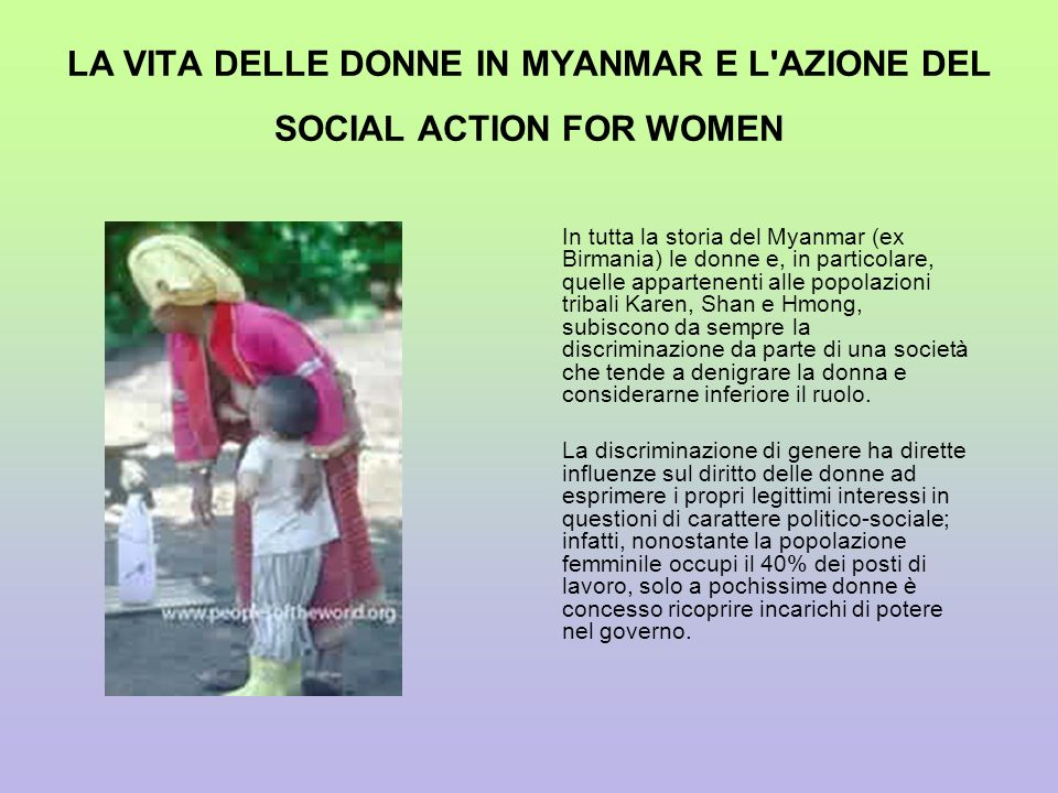 LA VITA DELLE DONNE IN MYANMAR E L AZIONE DEL SOCIAL ACTION FOR WOMEN