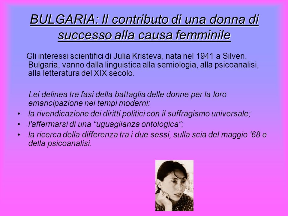 BULGARIA: Il contributo di una donna di successo alla causa femminile