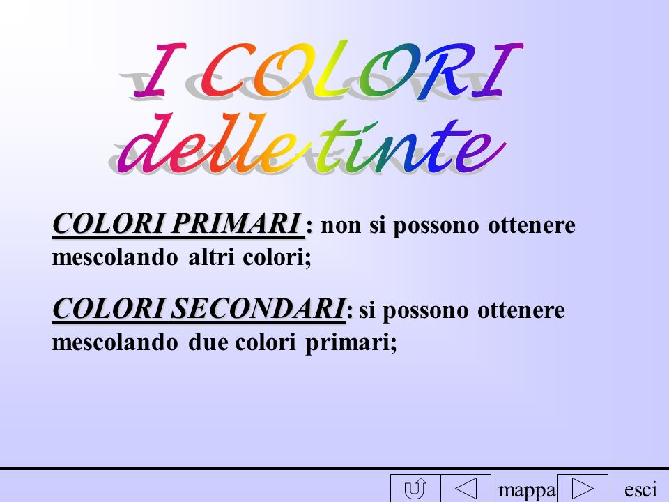 I COLORI delle tinte. COLORI PRIMARI : non si possono ottenere mescolando altri colori;