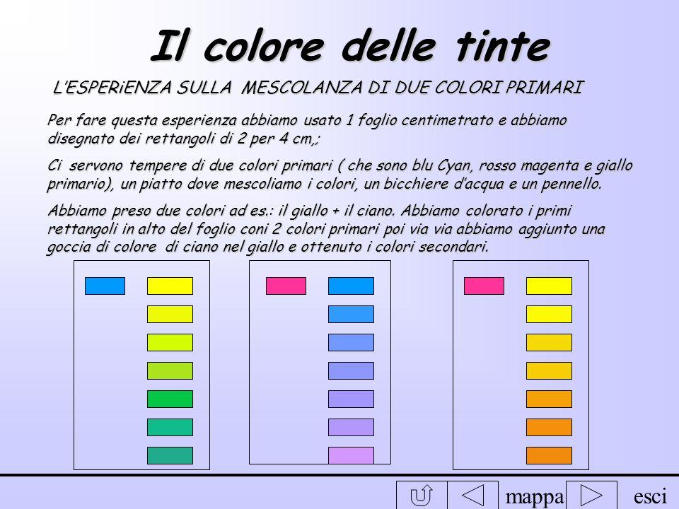 Il colore delle tinte L'ESPERiENZA SULLA MESCOLANZA DI DUE COLORI PRIMARI.