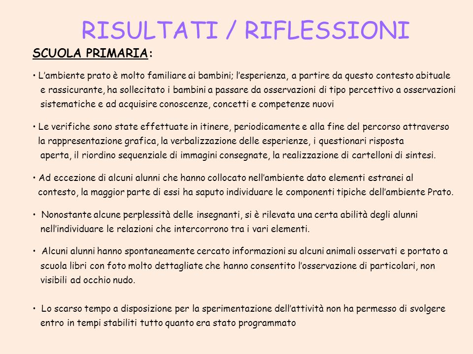 RISULTATI / RIFLESSIONI